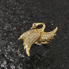 18K Gold Filled Elegant Italian Diamond Cypris Swan 18ct GF Dress Ring Sizes 9