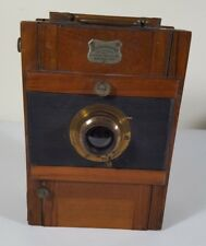 Antique 1895 Rodenstock German Whole Plate Wood Folding Camera With Bellows