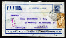URUGUAY to FRANCE 1929 Air Mail Cover MONTEVIDEO to PARIS 94th. AMFRA