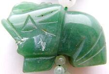"Vintage 29"" Beaded Necklace w/ Green Jade Stones & Green Jade Elephant Pendant"