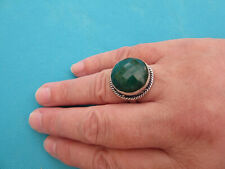 925 Sterling Silver Ring With Checker Board Cut Emerald UK P, US 7.75 (rg2658)
