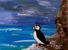 More details for puffin & sea pinks a  original scottish impressionist oil painting  l s rowly