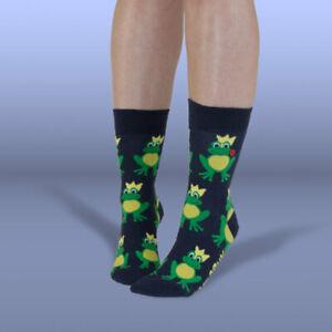 UnaBux Socke FROG PRINCE - navy Socken mit Froschkönig Design, Frösche, Krone