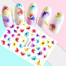Nail Art Stickers Transfers 3D Self Adhesive Multicoloured Flowers (XF3002)