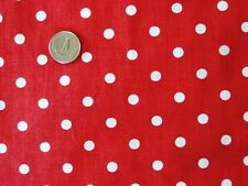 RED + WHITE SMALL POLKA DOTS MINNIE MOUSE RETRO COSTUME SEW CRAFT FABRIC 1/2 YDS