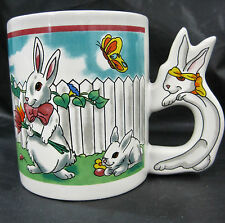 Rabbit Bunny Easter Holiday Spring Ceramic Coffee Tea Mug Cup Container White
