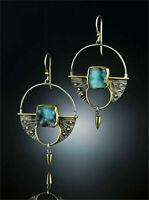 Women 925 Silver Green Gemstones Ear Stud Earrings Wedding Bridal Jewelry Gift