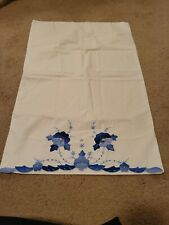 New listing Blue Flower Appliques Embroidered Pillowcase