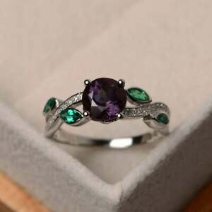2.2CT Round Cut Alexandrite Gorgeous Women's Engagement Ring 14K White Gold Over