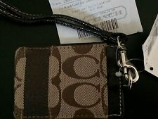 NEW w Receipt  COACH  Signature STRIPE Khaki Mahogany LANYARD ID HOLDER F61766
