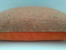 "Handmade 16"" Cushion Cover Wool Orange & Natural Herringbone & Velour"