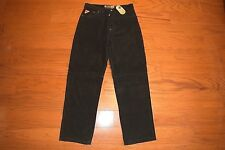 AKADEMIKS - Baggy Loose Fit Black Leather Suede Jeans - Men Size 35 x 33 - NWT
