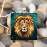 (Animal Lion Gifts) Art Cabochon Glass Tibet Silver Tile Chain Pendant Necklace