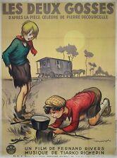 """""""LES DEUX GOSSES"""" Affiche originale entoilée Litho POULBOT 1936 (Fernand RIVERS)"""