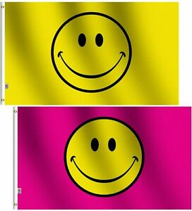 3x5FT Flag Yellow & Pink Happy Smiley Face Banner Dorm Bedroom Advertising USA