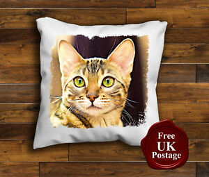 The Bengal Cat Design Cushion Cover Choice of sizes Handmade