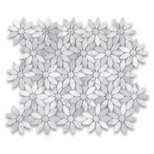 C9D0XP Carrara White Daisy Flower Pattern Mosaic Tile Polished