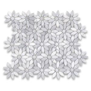 C9D0XP Carrara White Marble Daisy Flower Waterjet Mosaic Tile Polished