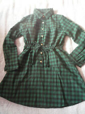 Robe tunique manches longues à carreaux verte et noire S/M - Green check dress