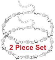 2 Pc Set 925 Sterling Silver Womens Stars Chain Link Anklet Ankle Bracelet D705B