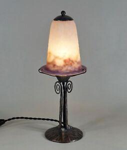 VASSEUR & MULLER FRERES : 1925 FRENCH ART DECO LAMP .........  wrought iron 1930