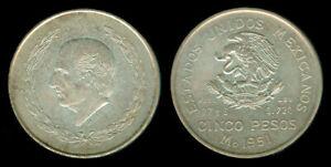 1951 Mexican Cinco Pesos HIDLAGO Estados Unidos Mexicanos Silver Coin