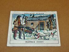 CHROMO #42 TRAPPEUR INDIEN CRIS HUDSON CANADA CHOCOLAT PUPIER AMERIQUE NORD 1952