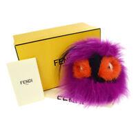 Authentic FENDI Punchy Bag Bug Monster Bag Charm Fur Key Holder Purple NR11704d