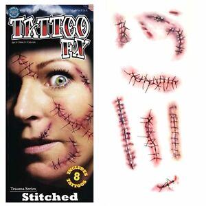 Tinsley Transfers Trauma Temporary Tattoos Stitched Stitches Halloween FX Makeup