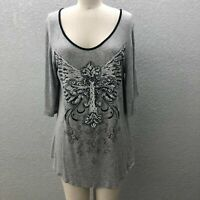 Big Bang Tunic Top Blouse Women's L Gray Knit Embellished 3/4 Sleeve Scoop Neck