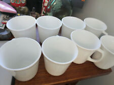 8 VINTAGE CORNING WHITE D HANDLE  COFFEE CUPS MUGS 8 OUNCES