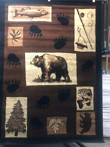 Brown Bear Lodge Fishing 5x8 area rug for the home ~NEW~
