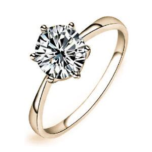 Slim Yellow Gold Plated Diamond Anniversary Band Ring Wedding Party Jewelry 7#