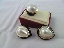 VINTAGE $15K PALM BEACH ESTATE 14K GOLD ONYX & MASSIVE MABE PEARL RING EARRINGS