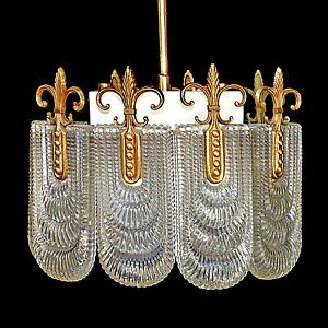 Elegant Glass Chandelier by Kaiser Mid-Century Modern 1970s/Bronze/Vintage