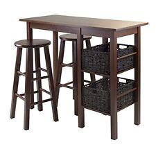 Winsome Egan 5pc Breakfast Table w/2 Baskets & 2 Stools Antique Walnut/Chocolate