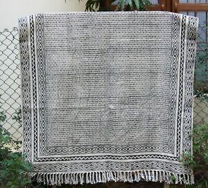 Indian Hand block print kilim Handmade cotton area rug Dining Room carpet 6x9 ft