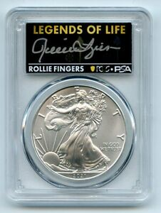 2021 (P) $1 Silver Eagle Emergency T1 PCGS MS70 Legends of Life Rollie Fingers