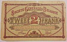 2 Francs 2 Frank 1916 Belgique Belgïe Belgium Serial M  #A#