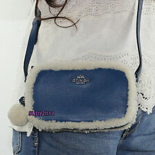 NWT Coach Shearling & Leather Crossbody Pouch Bag F64706 Blue Slate Natural NEW