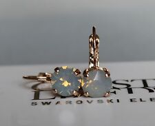 Rose Gold Plated Light Grey Opal Leverback Earrings-Swarovski Crystal Element