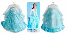 Disney Store Exclusive Frozen Princess Elsa Deluxe Costume Gown Size 7-8 NEW