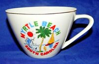 "Vintage Myrtle Beach Souvenir Tea Cup Porcelain 2.25"" Tall Gold Trim Palm Tree"