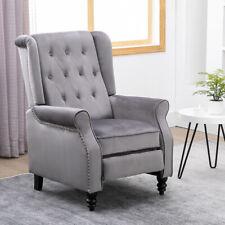 Recliner Chair Lounge Tufted Rivets Velvet Gray Sofa Living Room Furniture Gray