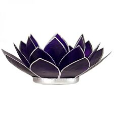 Lotus Chakra Tea Candle Holder Capiz Shell Violet Silver Trim.