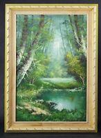 Beautiful Vtg Mid Century Signed Larson Oil Painting Landscape Forest Pond Lake