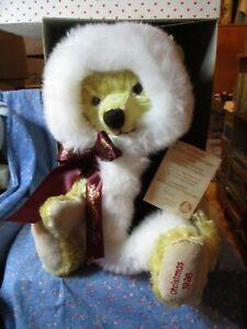 "NIB Hermann Annual Christmas Bear 1996 3rd in Series Growls  18"" H w/ Hood"