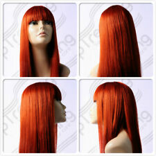 HIGH HEAT RESISTANT LONG SMOOTH FRINGE COPPER RED LADY WOMENS DAILY FULL WIG UK