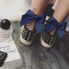 Fashion Women Ruffle Fishnet Ankle Socks Mesh Lace Fish Net Short Socks Navy Bow