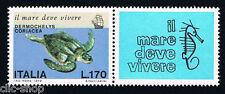 ITALIA IL FRANCOBOLLO SALVAGUARDIA DEL MARE TARTARUGA MARINA 1978 nuovo**
